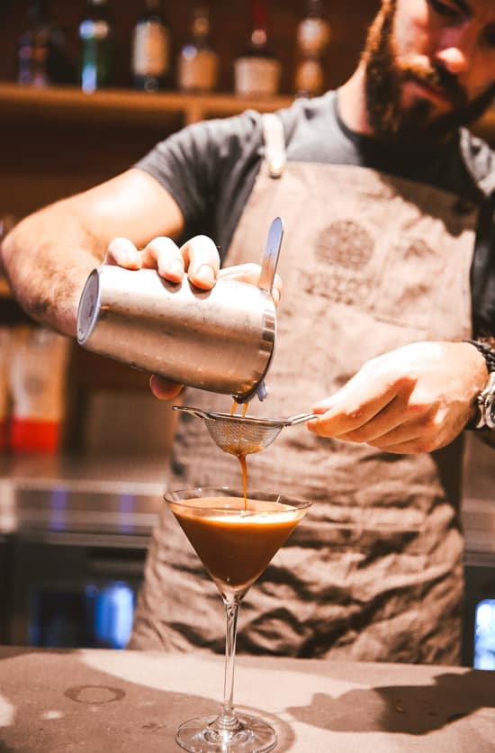 Bartender making an espresso Martini